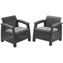 ALLIBERT CORFU DUO SET Kreslo 2 ks, 75 x 70 x 79cm, grafit/sivá 17197993