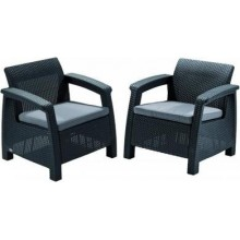 ALLIBERT CORFU DUO Set kreslo 2ks, 75 x 70 x 79cm, grafit/sivá 17197993