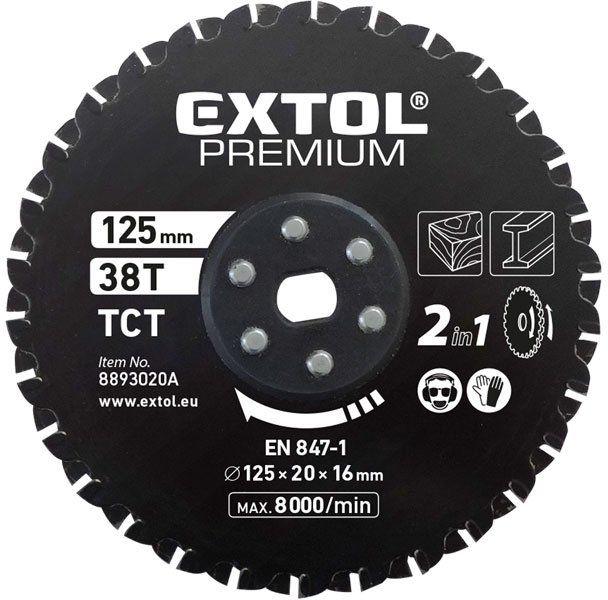EXTOL PREMIUM kotúč rezný na kov a drevo 125x20x16mm, 38T, pre 8893020 8893020A