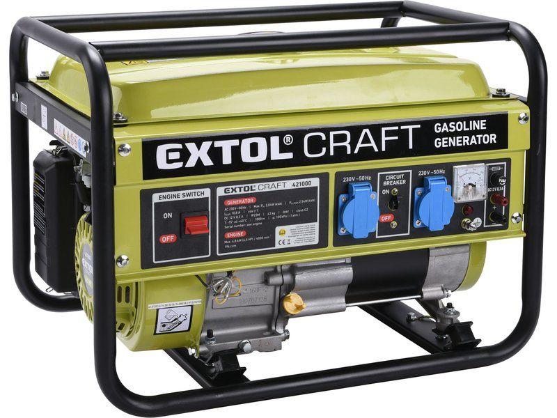 EXTOL CRAFT Elektrocentrála benzínová, 6,5 HP / 2,8kW 421000
