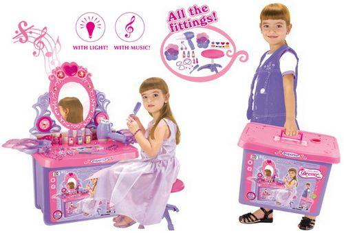 Detský kozmetický stolík G21 so zrkadlom a zvuky v kufri 690411