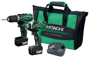 HITACHI - aku vŕtací skrutkovač DS10DFL + aku rázový uťahovák WH10DFL